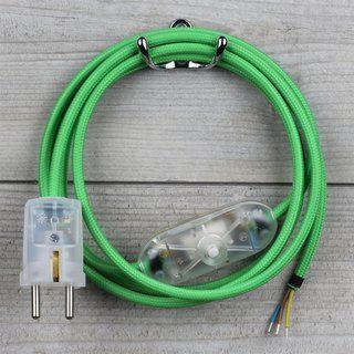Textilkabel Anschlussleitung 2 5m Grun Schalter U Schutzkontakt Stecker Transparent Textilkabel Kabel Stecker