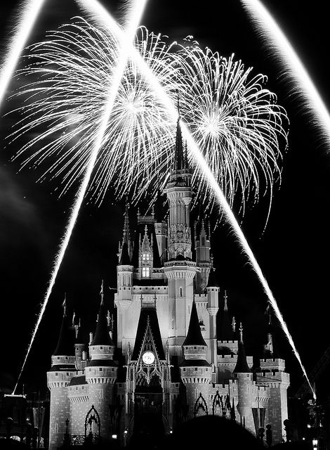 Wishes Fireworks Magic Kingdom Walt Disney World This scene in Wishes has the Castle with a red glow. Thanks to Silver Effects Pro I was able to bring out some details and contrast in the Castle. Black And White Picture Wall, Black And White Wallpaper, Black And White Pictures, Black White, Black Aesthetic Wallpaper, Aesthetic Wallpapers, Wishes Fireworks, Disneyland, Black And White Aesthetic