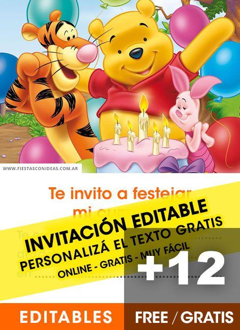 12 Invitaciones De Winnie Pooh Gratis Free Para Editar