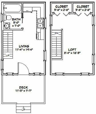 12x20 House 1 Br 1 Bath 452 Sq Ft Pdf Floorplan Model 2 Tiny House Floor Plans House Floor Plans Beach House Floor Plans