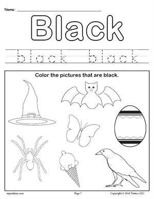 Free Printable Color Black Worksheet Color Worksheets