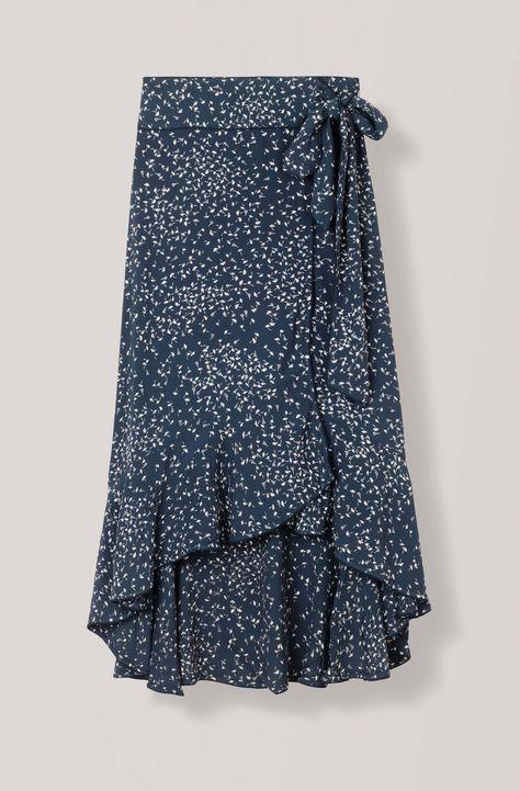 3bb29e41571 Asymmetric high waisted wrap skirt with bottom flounces.