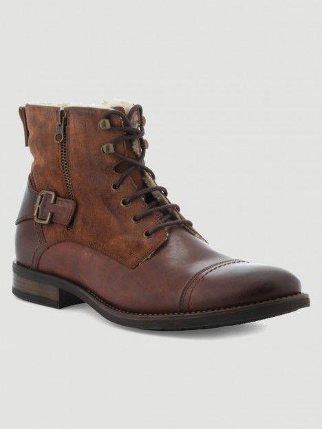 bottes cuir marron homme fourrée