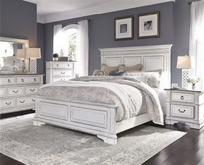 Abbey Park Panel Bed 13 Piece Bedroom Set in Antique White Finish