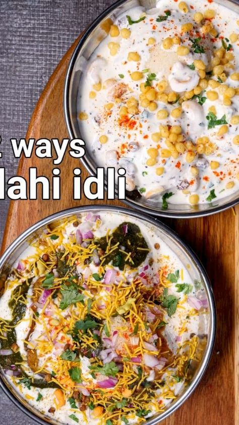dahi idli recipe | curd idli chaat recipe 2 ways | suji dahi idli with detailed photo and video recipe. one of the easy and simple chaat recipes prepared with leftover breakfast idli topped with flavoured yoghurt. the recipe is very much inspired by the popular dahi bhalla or dahi vada recipe with idli as a replacement to vada. this recipe post shows 2 ways of preparing the idli chaat recipe, out of the numerous ways to prepare a lip-smacking chaat recipe.