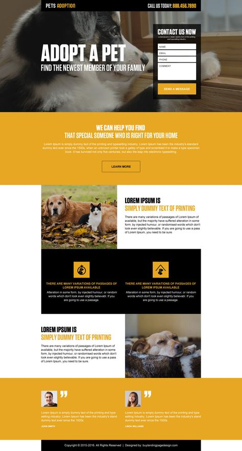 Pets Adoption Lead Gen Landing Page 002 Adoption Landing Page Design Preview Landing Page Design Website Design Layout Pet Adoption