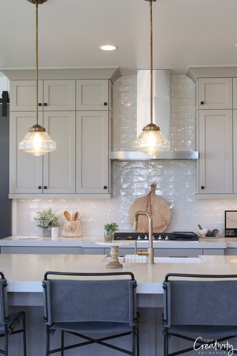 Cabinets painted with Benjamin Moore Fieldstone. Like this gray green look for a kitchen #gray #paintedcabinets