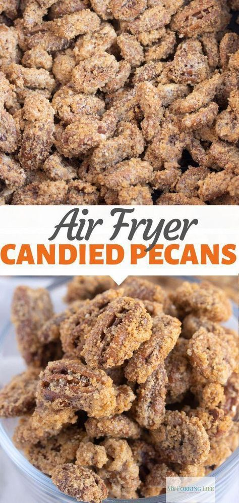 15 Minute Sugared Pecans - These Air Fryer Candied Pecans are quick and easy thanks to the air fryer. Made in less than 20 min - Air Frier Recipes, Air Fryer Oven Recipes, Air Fryer Dinner Recipes, Cinnamon Sugar Pecans, Sugared Pecans, Candied Nuts, Sugar Coated Pecans, Small Air Fryer, Easy Meals