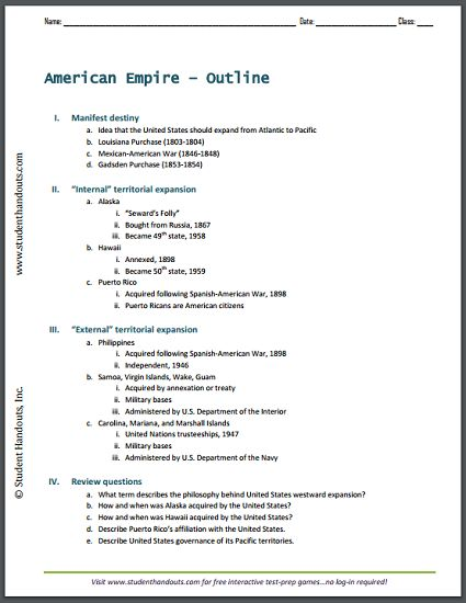 The American Empire Outline Of The History Of United States
