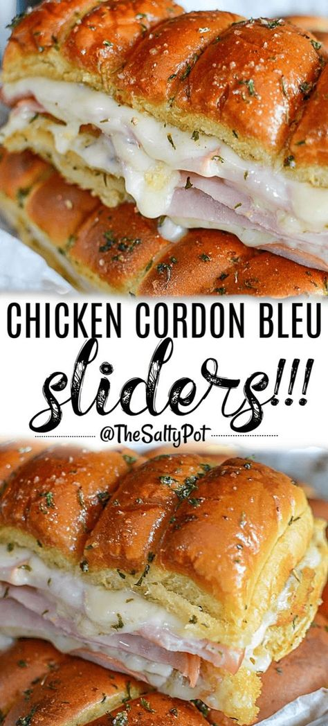 All the flavors of traditional Chicken Cordon Bleu, but handheld! Perfect for any game day or crowd, this Chicken Cordon Bleu Slider has that crispy chicken crunch, the salty bite from ham, and that… Chicken Cordon Blue, Chicken Cordon Bleu Sandwich, Cordon Bleu Food, Ideas Sándwich, Ideas Party, Slider Sandwiches, Steak Sandwiches, Slider Recipes, Skirt Steak