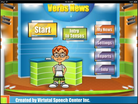 Verbs News is a fun and creative language-therapy app for the iPad created by a certified speech and language pathologist for students to learn and practice verbs in four different tenses (simple present, present continuous, simple past, and simple future). It has a total of over 190 regular and irregular verbs represented in beautiful real-life pictures.