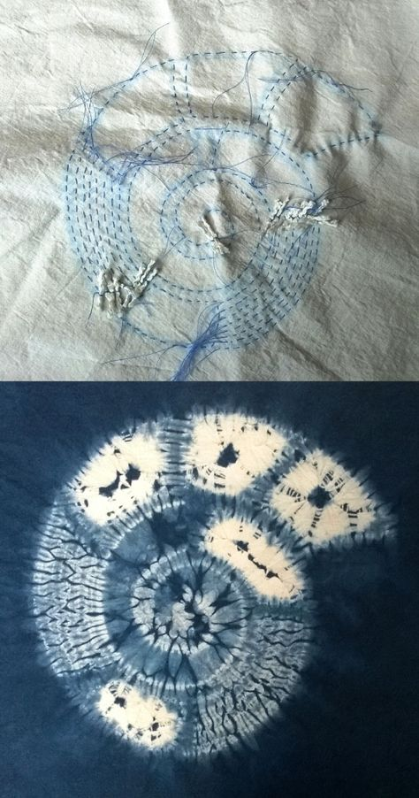 Ammonite design in shibori by Annabel Wilson. Top shows outline stitching and below  the finished design.Townhill Studio
