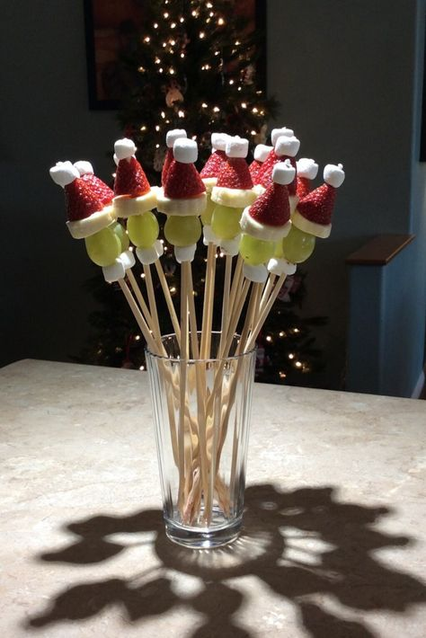 "Grinch Kabobs Recipe ""These little skewers are simple to make and a great addition to your appetizers at any Christmas party."" Grinch Kabobs Recipe ""These little skewers are simple to make and a great addition to your appetizers at any Christmas party."