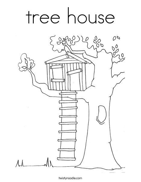 Tree House Coloring Page Magic