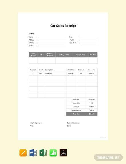 Car Sale Receipt Template Free Pdf Word Excel Apple Pages Google Docs Google Sheets Apple Numbers Receipt Template Templates Printable Free Sales Template