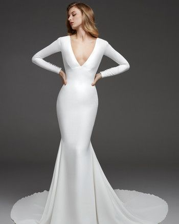 Simple Wedding Dresses That Are Just Plain Chic Pronovias Wedding Dress Wedding Dresses Wedding Dress Long Sleeve