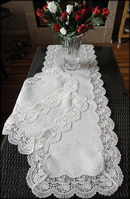 Dresser Scarf Royal Rose European Lace White Table Runner 54 Inch Plus Two Place Mats Or End Table Doilies Review Table Runners White Table Placemats