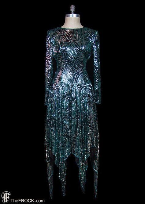 Halston 1970s sequined evening dress, hankie hem, blue / green teal color, plunging open back / back