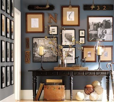 blue wall with photos  entry