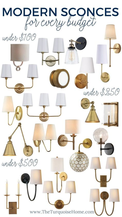 Modern wall sconces are popping up everywhere in living rooms libraries dining rooms bedrooms bathrooms and even o Contemporary Wall Sconces, Modern Wall Sconces, Farmhouse Light Fixtures, Farmhouse Lighting, Accent Lighting, Wall Sconce Lighting, Chandeliers, Brass Sconce, Old Lights