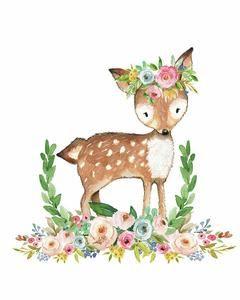 Boho Woodland Baby Girl Nursery Deer Floral Watercolor Wall Art Print