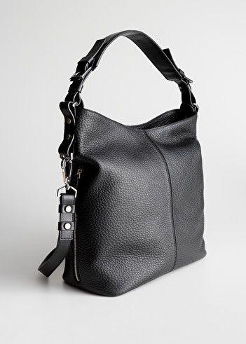 Grain Leather Hobo Bag Black Shoulderbags Other Stories In 2020 Leather Hobo Bag Leather Hobo Hobo Bag