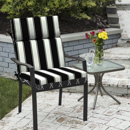 Better Homes Gardens Black Stripe 44 X 21 In Outdoor Dining Chair Cushion With Enviroguard Walmart Com In 2020 Outdoor Dining Chair Cushions Replacement Patio Cushions Dining Chair Cushions