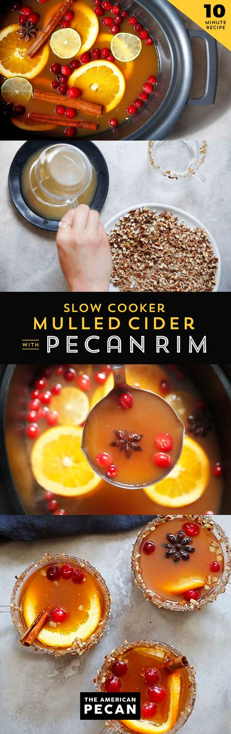 Slow Cooker Mulled Cider with Pecan Rim