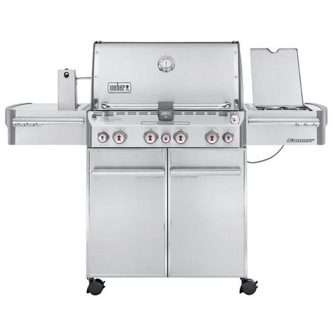 Weber Summit S 470 4 Burner Propane Gas Grill In Stainless Steel With Built In Thermometer And Rotisserie 7170001 Propane Gas Grill Grilling Best Gas Grills