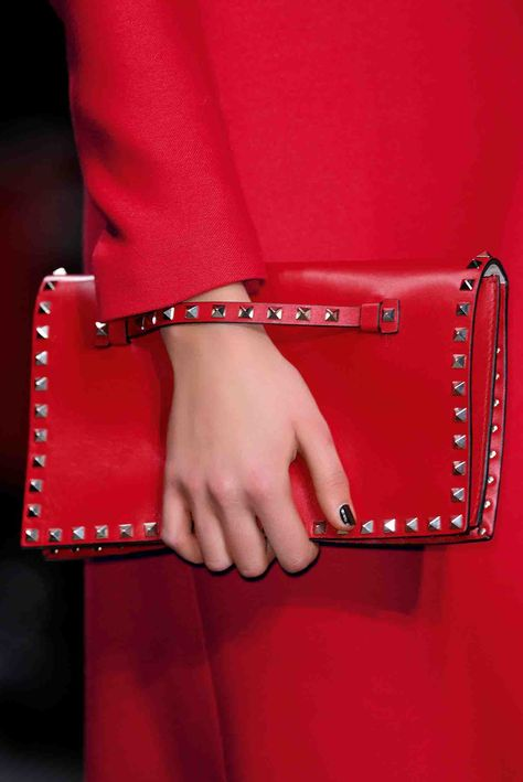 Valentino red leather Rockstud clutch