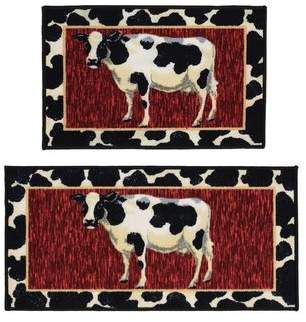 Madison Home Cow 2 Piece Black Red Novelty Rug Set Madison Home Cow Area Rug Rug Sets Novelty Rugs