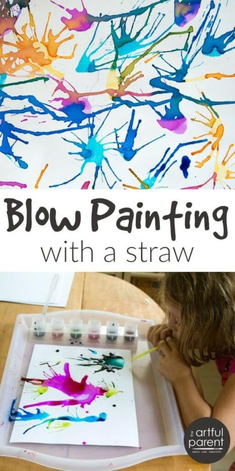 Blow painting with straws is simple yet lots of fun for kids of all ages. Use a straw to blow liquid paint around on paper, creating interesting designs. via art on paper Blow Painting with Straws - Super Fun, Super Simple Art Idea for Kids! Diy Crafts For Girls, Fun Diy Crafts, Summer Crafts, Diy For Kids, Paper Crafts, Kids Fun, Straw Art For Kids, Preschool Crafts, Simple Crafts