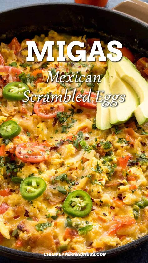 This authentic Mexican breakfast is a crunchy egg casserole that is spicy from chili peppers and ready in only 30 minutes. Serve straight or on a taco for a savory breakfast the whole family will love. #mexican #easyrecipe #breakfast