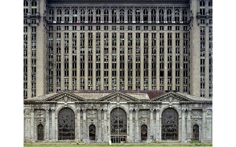 Detroit's abandoned Union Station.  I've long thought this is one of the most beautiful buildings in the city, even in its ruin.  The decay gives it a haunting grace.