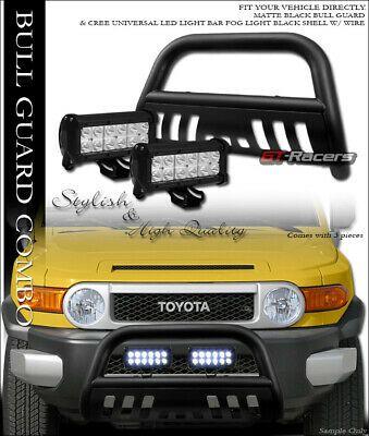 For 07 14 Fj Cruiser Matte Black Bull Bar Bumper Guard W 36w Cree Led Fog Lights In 2020 Fj Cruiser Led Fog Lights Cree Led