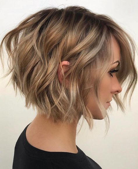 Short Bob In 2020 Wavy Bob Hairstyles Thick Hair Styles Latest Short Haircuts