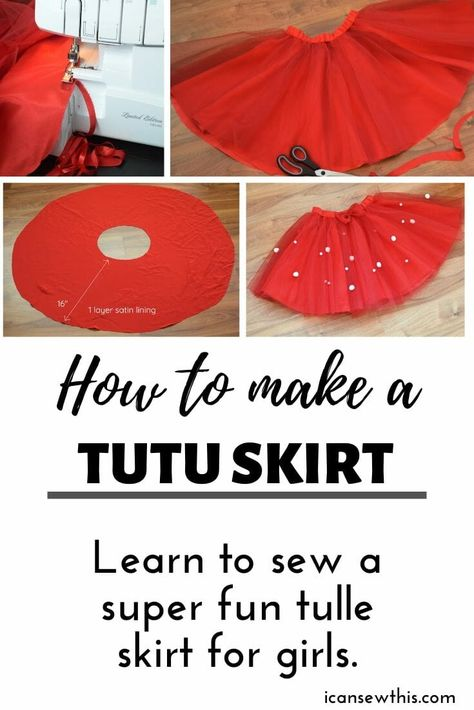 How to make DIY tulle circle skirt with elastic waistband. Learn to sew a super fun tulle skirt for girls that will look gorgeous at any party. Diy Circle Skirt, Diy Tulle Skirt, Girls Tulle Skirt, Circle Skirt Pattern, Tulle Skirt Tutorial, Skirt Pattern Free, Tutu Skirts, Circle Skirts, Tulle Tutu