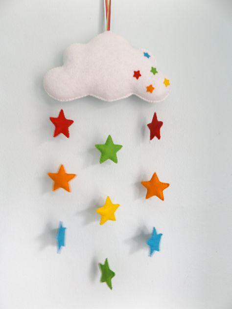 Handmade felt baby mobile, cloud and rainbow stars, nursery decor, baby gift by FeltFairytale on Etsy https://www.etsy.com/listing/251781981/handmade-felt-baby-mobile-cloud-and