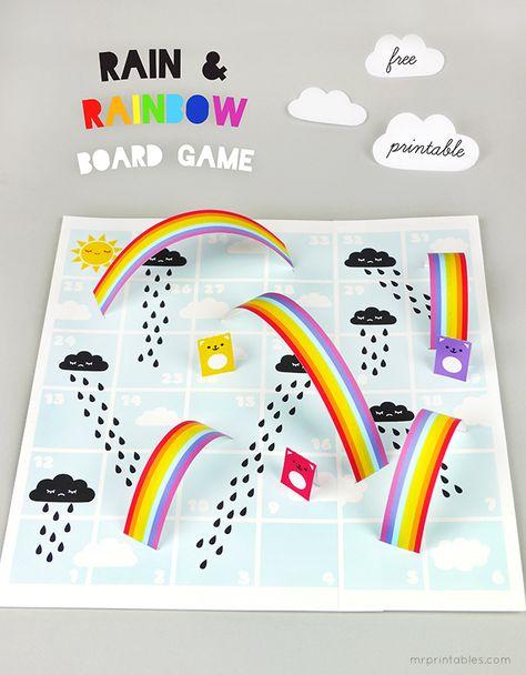 Rain  Rainbow board game free printables