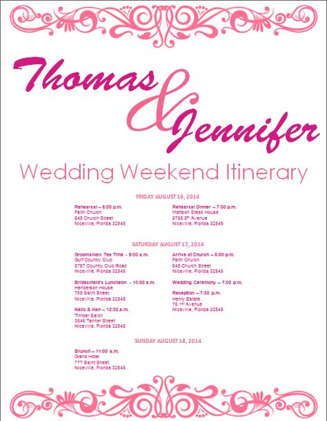 Wedding Itinerary Template Bridetodo And We Lived Hily Ever After Pinterest Weekend