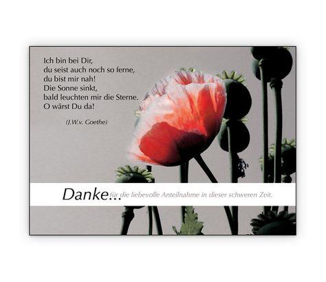Danke für die liebevolle Anteilnahme... Trauer Dankeskarte