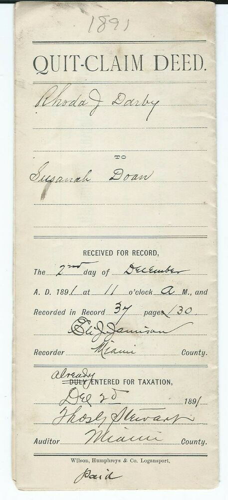 1891 Quit Claim Deed Miami Co Indiana Jackson Township Darby