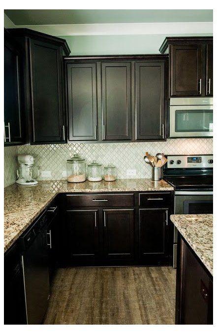 Kitchen Backsplash With Espresso Cabinet Arabesque Selene Tile Backsplas Trendy Kitchen Backsplash Backsplash With Dark Cabinets Espresso Kitchen Cabinets
