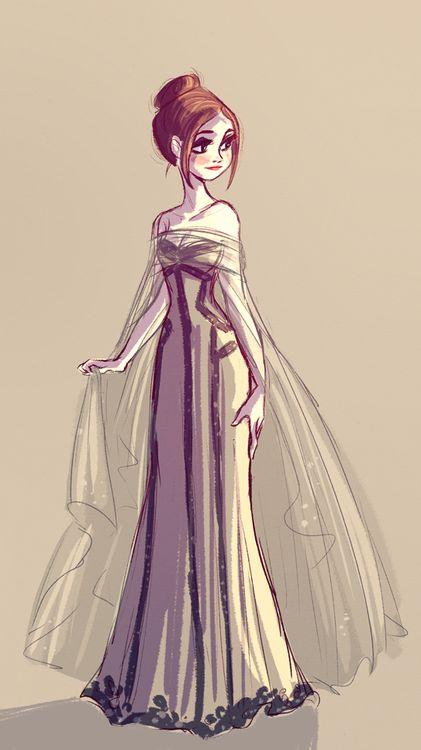 Girl Dress Sketch / Bozzetto di vestito da donna - Illust. by Miranda Yeo