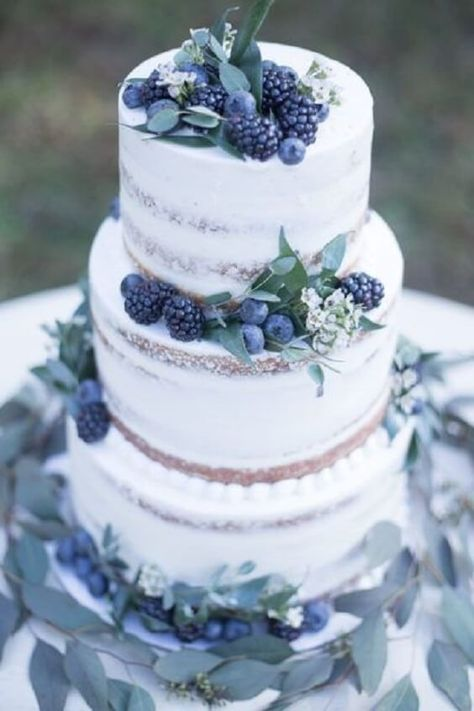 white semi naked wedding cakes with greenery and blueberries, winter weddings, d. - white semi naked wedding cakes with greenery and blueberries, winter weddings, dusty blue and white -