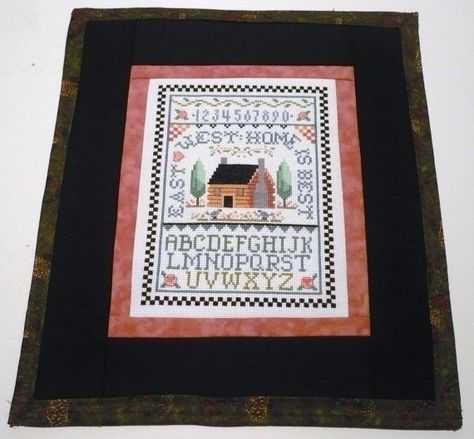 Log Cabin Sampler in a Fabric Frame by Libratarot on Etsy, $27.00