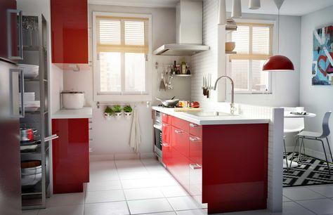 IKEA Österreich, Inspiration, Küche, rot, modern, Oberschrank - wellmann k chenschr nke nachkaufen