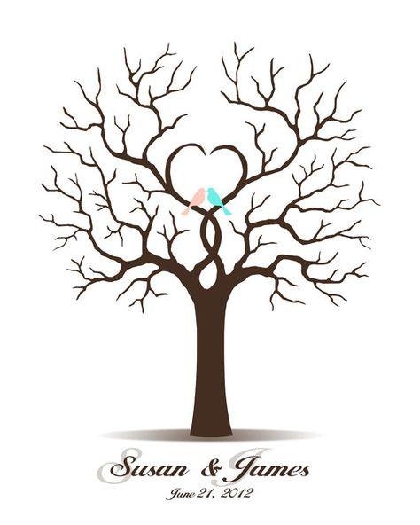 Hochzeit Gästebuch - Hochzeit Gästebuch Baum - druckbaren JPEG - digitalen Fingerabdruck / Fingerabdruck und Unterschrift Tree zur