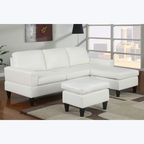 7 Colors Poundex F7298 Bobkona White Faux Leather Sectional