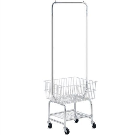 Yaheetech Commercial Laundry Cart Laundry Butler With Wheels Double Pole Rack Silver G W 21 3 Lb Walmart Com Laundry Cart Laundry Basket On Wheels Storage Cart Rolling laundry cart with hanging bar